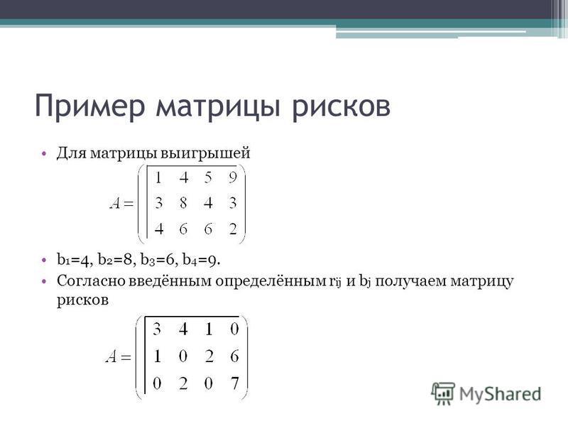 Пример матрицы рисков Для матрицы выигрышей b 1 =4, b 2 =8, b 3 =6, b 4 =9. Согласно введённым определённым r ij и b j получаем матрицу рисков