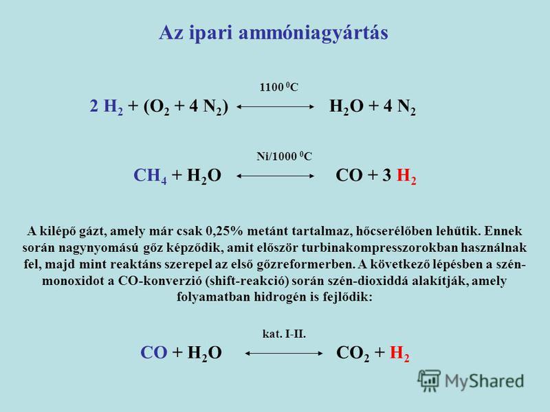 A kilépő gázt, amely már csak 0,25% metánt tartalmaz, hőcserélőben lehűtik. Ennek során nagynyomású gőz képződik, amit először turbinakompresszorokban használnak fel, majd mint reaktáns szerepel az első gőzreformerben. A következő lépésben a szén- mo
