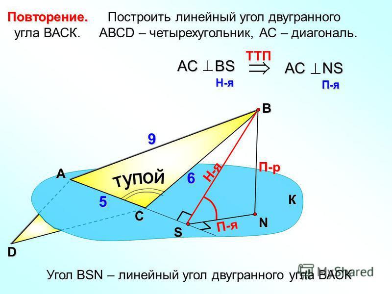 Построить линейный угол двугранного угла ВАСК. АВСD – четырехугольник, АС – диагональ. А В N П-р Н-я П-я TTП АС ВS H-я H-я АС NS П-я П-я Угол ВSN – линейный угол двугранного угла ВАСК К С S D 9 6 5 Повторение.