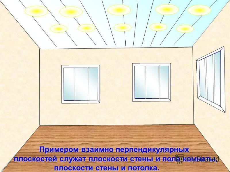 Примером взаимно перпендикулярных плоскостей служат плоскости стены и пола комнаты, Примером взаимно перпендикулярных плоскостей служат плоскости стены и пола комнаты, плоскости стены и потолка. плоскости стены и потолка.