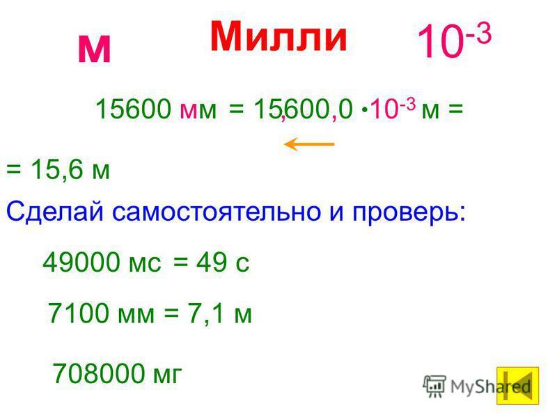 Милли 10 -3 м 15600 мм= 15600,0 10 -3 м = = 15,6 м, 49000 мс= 49 с Сделай самостоятельно и проверь: 7100 мм= 7,1 м 708000 мг