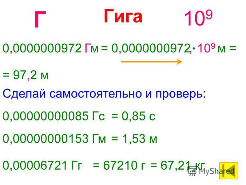 Гига 10 9 Г 0,0000000972 Гм= 0,0000000972 10 9 м = = 97,2 м, 0,00000000085 Гс= 0,85 с Сделай самостоятельно и проверь: 0,00000000153 Гм= 1,53 м 0,00006721 Гг= 67210 г= 67,21 кг