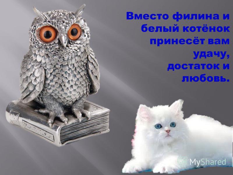 Вместо филина и белый котёнок принесёт вам удачу, достаток и любовь.