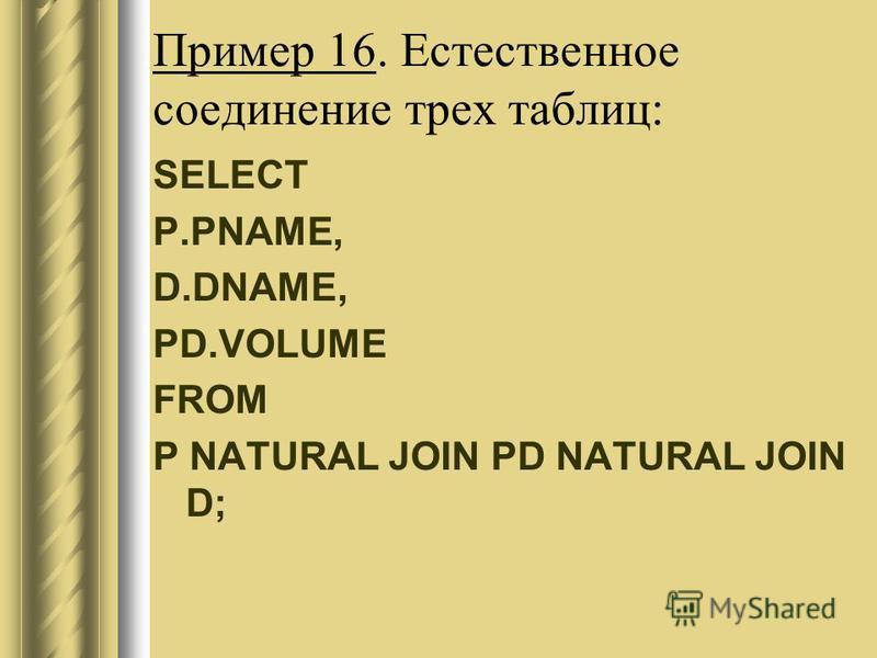 Пример 16. Естественное соединение трех таблиц: SELECT P.PNAME, D.DNAME, PD.VOLUME FROM P NATURAL JOIN PD NATURAL JOIN D;