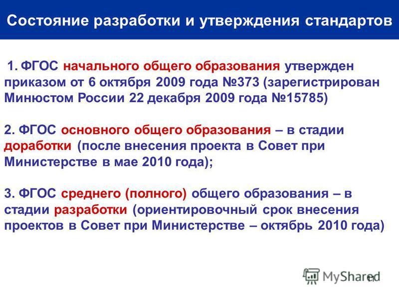 11 Состояние разработки и утверждения стандартов 1. ФГОС начального общего образования утвержден приказом от 6 октября 2009 года 373 (зарегистрирован Минюстом России 22 декабря 2009 года 15785) 2. ФГОС основного общего образования – в стадии доработк