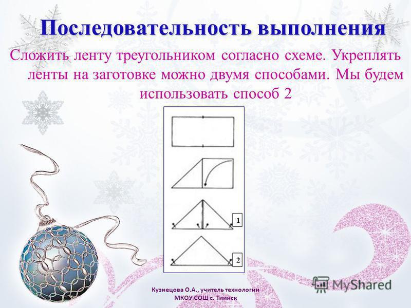 Кузнецова О.А., учитель технологии МКОУ СОШ с. Тиинск Сложить ленту треугольником согласно схеме. Укреплять ленты на заготовке можно двумя способами. Мы будем использовать способ 2 Последовательность выполнения 1 2