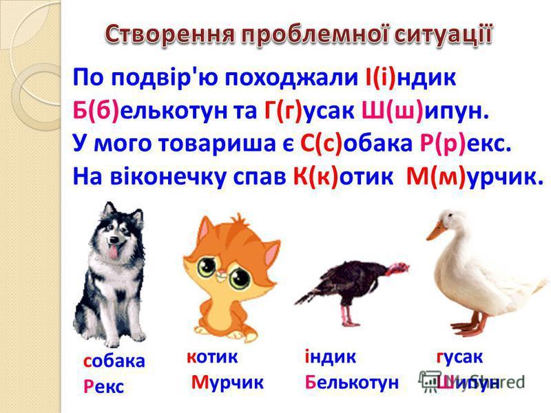 По подвір'ю походжали І(і)ндик Б(б)елькотун та Г(г)усак Ш(ш)ипун. У мого товариша є С(с)обака Р(р)екс. На віконечку спав К(к)отик М(м)урчик. індик Белькотун гусак Шипун собака Рекс котик Мурчик