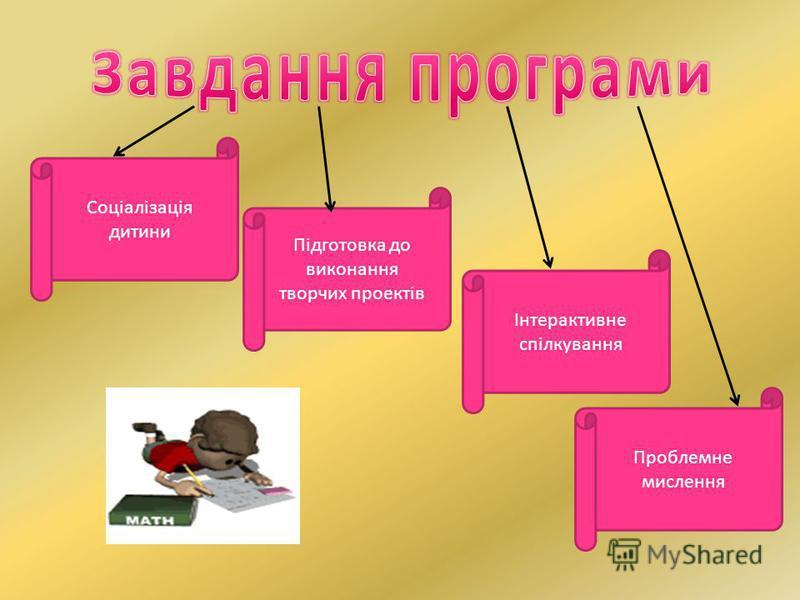 Соціалізація дитини Підготовка до виконання творчих проектів Інтерактивне спілкування Проблемне мислення