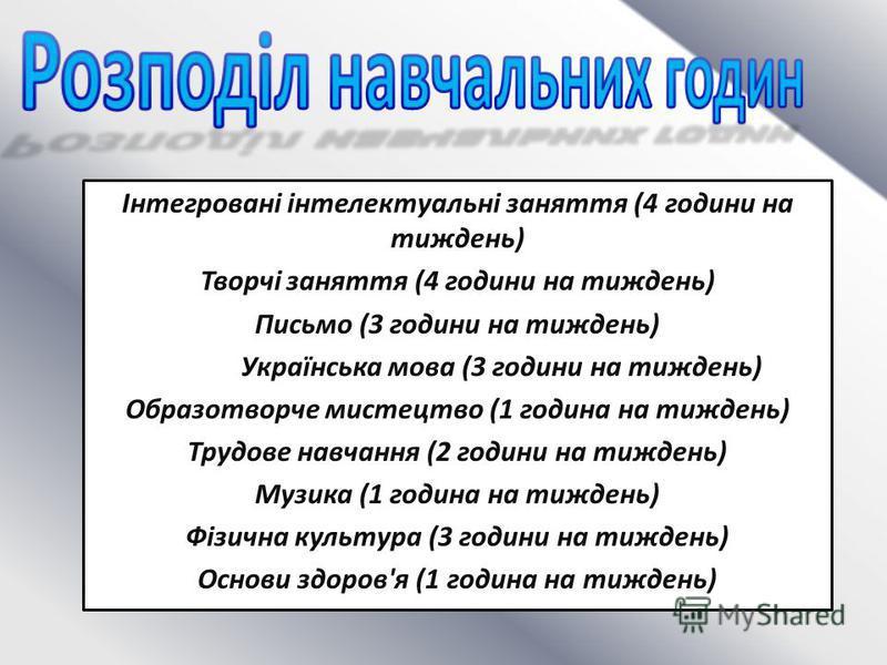 Інтегровані інтелектуальні заняття (4 години на тиждень) Творчі заняття (4 години на тиждень) Письмо (3 години на тиждень) Українська мова (3 години на тиждень) Образотворче мистецтво (1 година на тиждень) Трудове навчання (2 години на тиждень) Музик