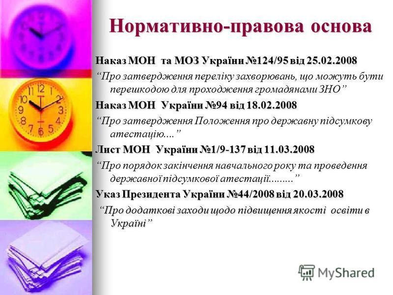 Нормативно-правова основа Наказ МОН та МОЗ України 124/95 від 25.02.2008 Про затвердження переліку захворювань, що можуть бути перешкодою для проходження громадянами ЗНО Наказ МОН України 94 від 18.02.2008 Про затвердження Положення про державну підс