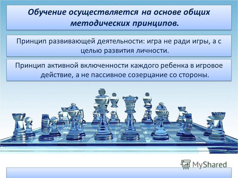 Принцип развивающей деятельности: игра не ради игры, а с целью развития личности. Принцип развивающей деятельности: игра не ради игры, а с целью развития личности. Обучение осуществляется на основе общих методических принципов. Принцип активной включ
