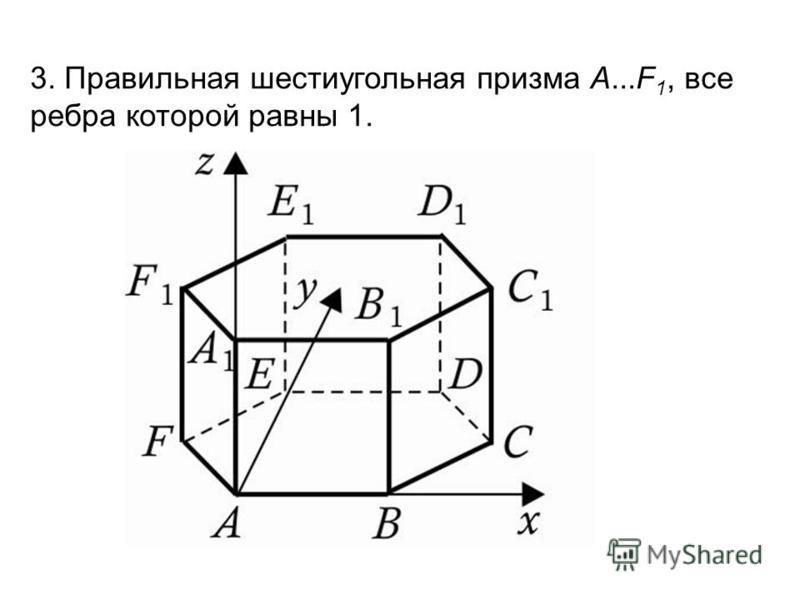 3. Правильная шестиугольная призма A...F 1, все ребра которой равны 1.