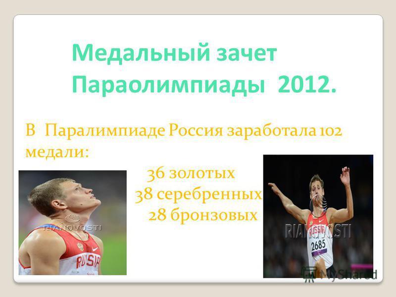 Медальный зачет Параолимпиады 2012. В Паралимпиаде Россия заработала 102 медали: 36 золотых 38 серебренных 28 бронзовых