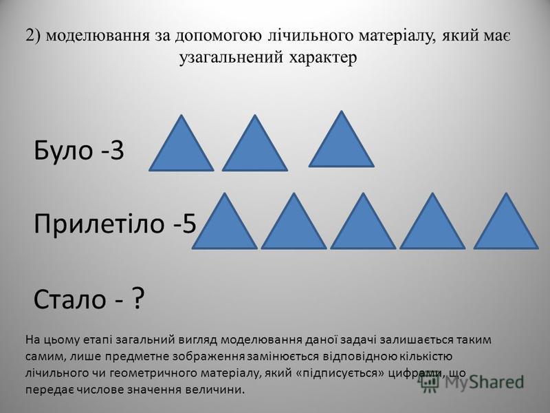 Було -3 Прилетіло -5 Стало - ? 2) моделювання за допомогою лічильного матеріалу, який має узагальнений характер На цьому етапі загальний вигляд моделювання даної задачі залишається таким самим, лише предметне зображення замінюється відповідною кількі
