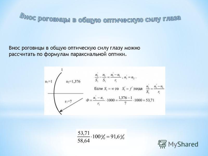 Внос роговицы в общую оптическую силу глазу можно рассчитать по формулам параксиальной оптики.