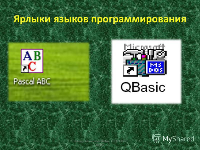 Ярлыки языков программирования Плинк Елена Николаевна ГБОУ СОШ 575