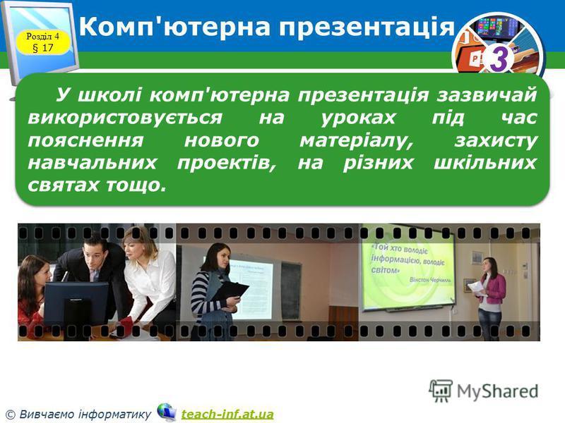 33 © Вивчаємо інформатику teach-inf.at.uateach-inf.at.ua Комп'ютерна презентація Розділ 4 § 17 У школі комп'ютерна презентація зазвичай використовується на уроках під час пояснення нового матеріалу, захисту навчальних проектів, на різних шкільних свя