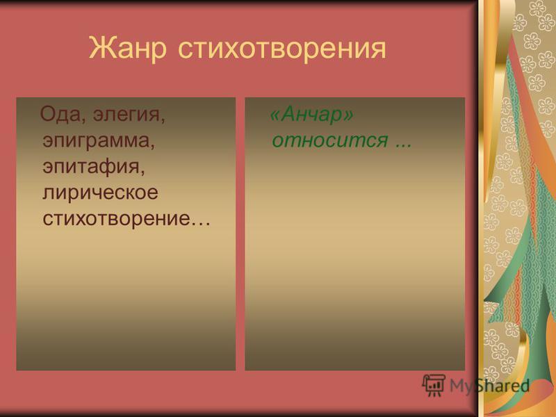 Жанр стихотворения Ода, элегия, эпиграмма, эпитафия, лирическое стихотворение… «Анчар» относится...