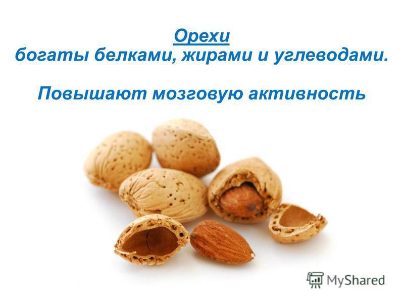 Орехи богаты белками, жирами и углеводами. Повышают мозговую активность