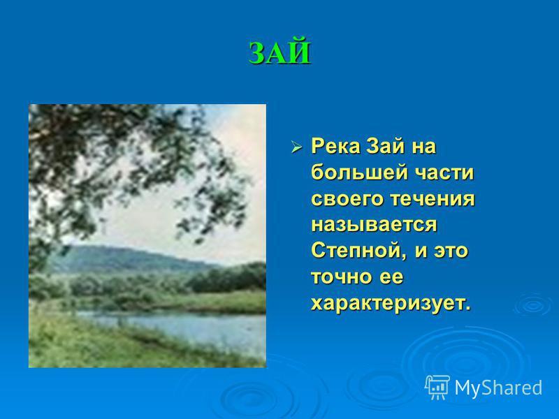 ЗАЙ Река Зай на большей части своего течения называется Степной, и это точно ее характеризует. Река Зай на большей части своего течения называется Степной, и это точно ее характеризует.