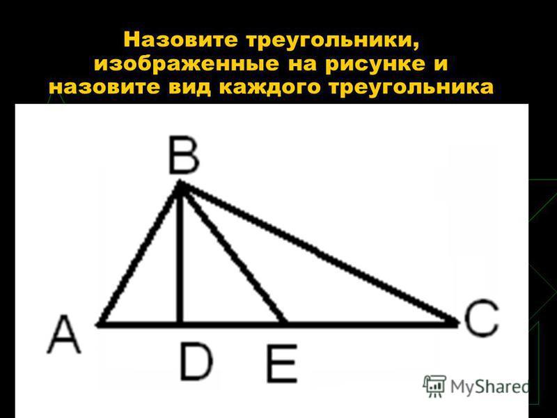 Назовите треугольники, изображенные на рисунке и назовите вид каждого треугольника