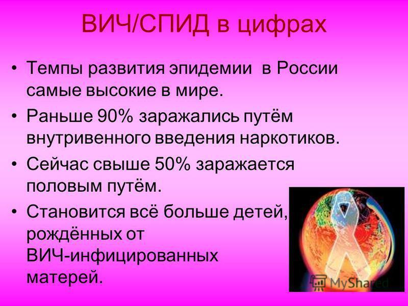 ВИЧ/СПИД в цифрах Темпы развития эпидемии в России самые высокие в мире. Раньше 90% заражались путём внутривенного введения наркотиков. Сейчас свыше 50% заражается половым путём. Становится всё больше детей, рождённых от ВИЧ-инфицированных матерей.