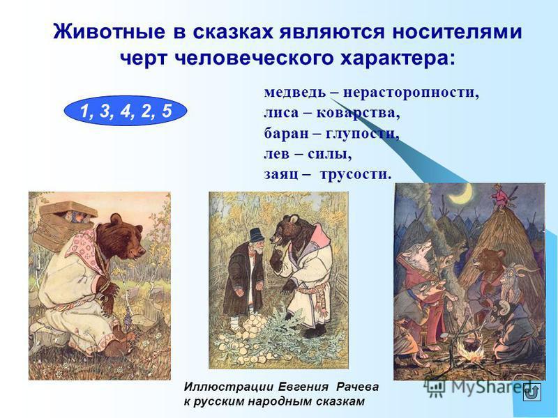 Животные в сказках являются носителями черт человеческого характера: медведь – нерасторопности, лиса – коварства, баран – глупости, лев – силы, заяц – трусости. 1, 3, 4, 2, 5 Иллюстрации Евгения Рачева к русским народным сказкам