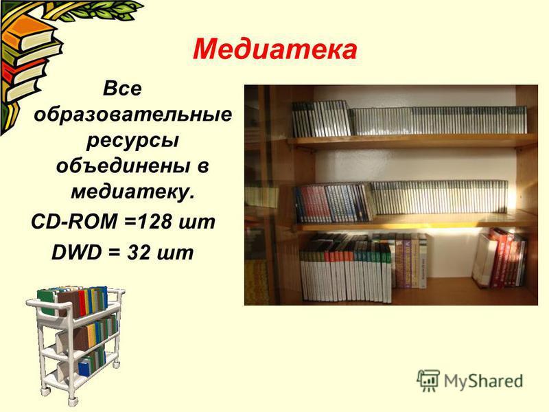 Медиатека Все образовательные ресурсы объединены в медиатеку. CD-ROM =128 шт DWD = 32 шт