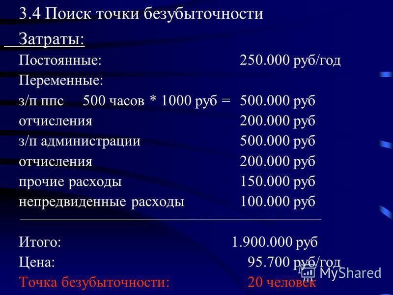 3.4 Поиск точки безубыточности Затраты: Постоянные: 250.000 руб/год Переменные: з/п ппс 500 часов * 1000 руб = 500.000 руб отчисления 200.000 руб з/п администрации 500.000 руб отчисления 200.000 руб прочие расходы 150.000 руб непредвиденные расходы 1