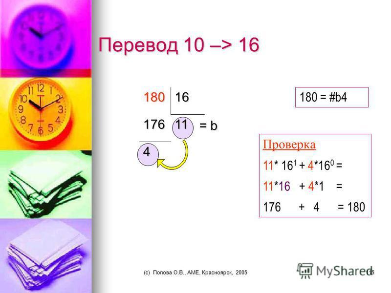 x Перевод 16 -> 10 01 b 4 # 0 b 16 1 4 + 1 + 4 =75 x x 11 x