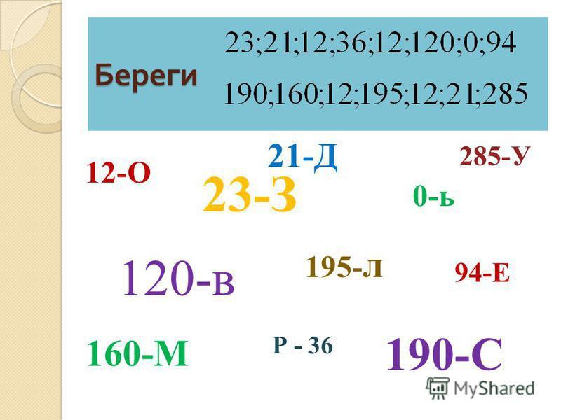 Береги 12-О 21-Д 0-ь 120-в 195- л 23-З 94-Е Р - 36 190-С 160-М 285-У