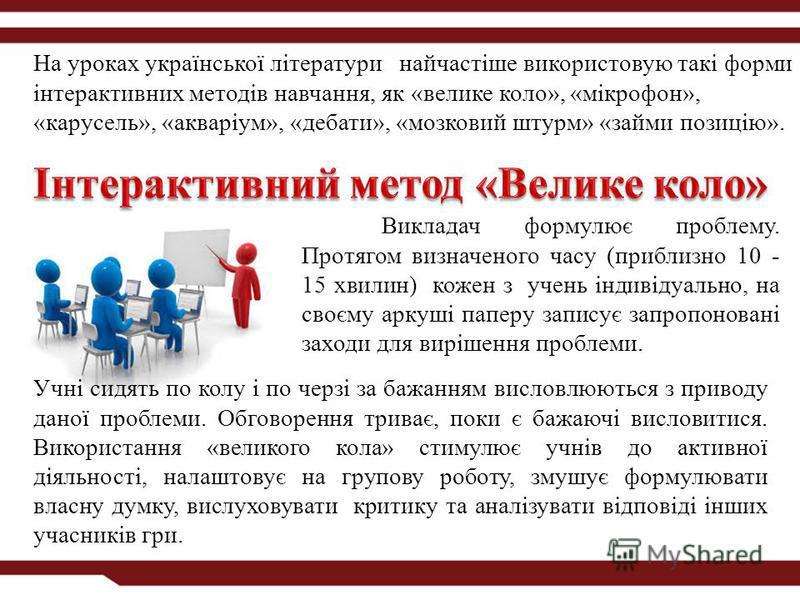 На уроках української літератури найчастіше використовую такі форми інтерактивних методів навчання, як «велике коло», «мікрофон», «карусель», «акваріум», «дебати», «мозковий штурм» «займи позицію». Викладач формулює проблему. Протягом визначеного час