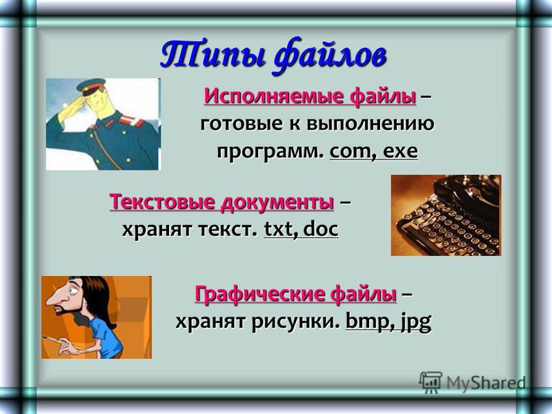 Типы файлов Исполняемые файлы – готовые к выполнению программ. com, exe Текстовые документы – хранят текст. txt, doc Графические файлы – хранят рисунки. bmp, jpg