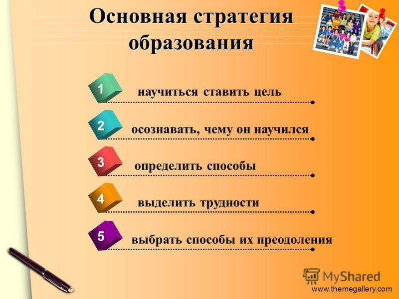 www.themegallery.com Основная стратегия образования 4 научиться ставить цель 1 2 3 5 осознавать, чему он научился определить способы выделить трудности выбрать способы их преодоления