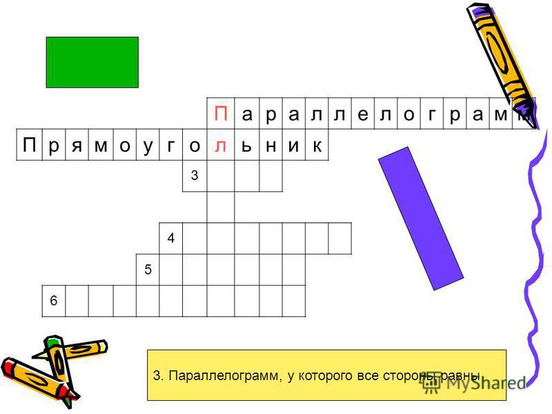 3. Параллелограмм, у которого все стороны равны Параллелограмм Прямоугольник 3 4 5 6