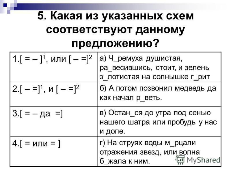 5. Какая из указанных схем соответствуют данному предложению? 1.[ = – ] 1, или [ – =] 2 а) Ч_черемуха душистая, ра_увесившись, стоит, и зелень з_золотистая на солнышке г_рит 2.[ – =] 1, и [ – =] 2 б) А потом позвонил медведь да как начал р_ведь. 3.[
