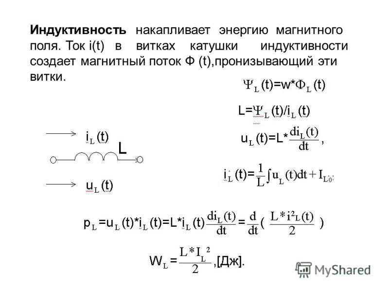 Индуктивность накапливает энергию магнитного поля. Ток i(t) в витках катушки индуктивности создает магнитный поток Ф (t),пронизывающий эти витки.