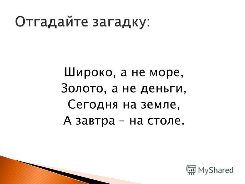 Широко, а не море, Золото, а не деньги, Сегодня на земле, А завтра – на столе.