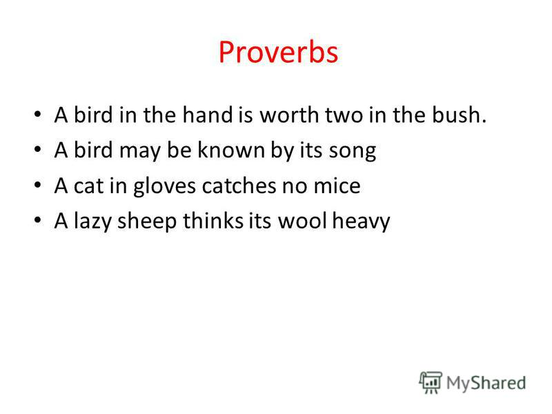 Proverbs A bird in the hand is worth two in the bush. A bird may be known by its song A cat in gloves catches no mice A lazy sheep thinks its wool heavy