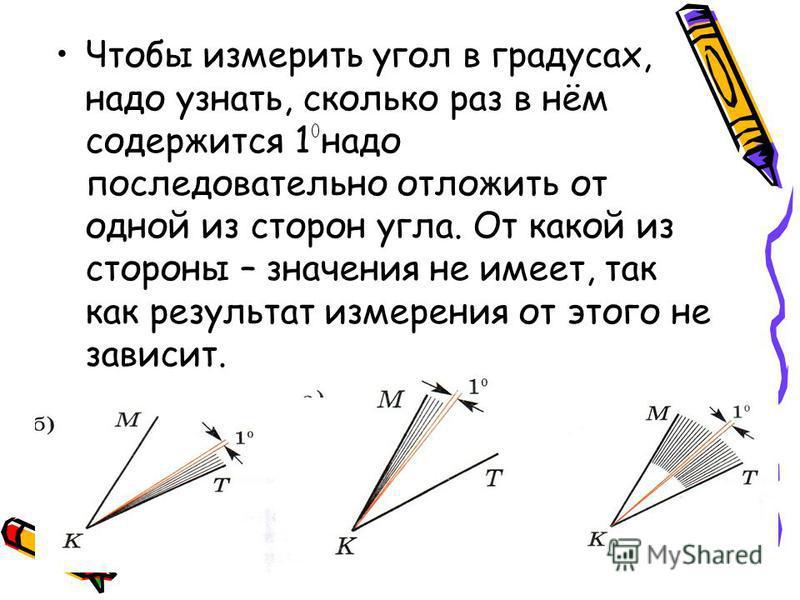 Чтобы измерить угол в градусах, надо узнать, сколько раз в нём содержится 1 надо последовательно отложить от одной из сторон угла. От какой из стороны – значения не имеет, так как результат измерения от этого не зависит.