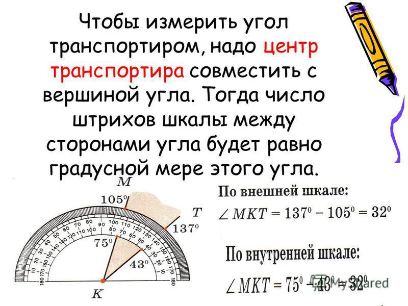 Чтобы измерить угол транспортиром, надо центр транспортира совместить с вершиной угла. Тогда число штрихов шкалы между сторонами угла будет равно градусной мере этого угла.