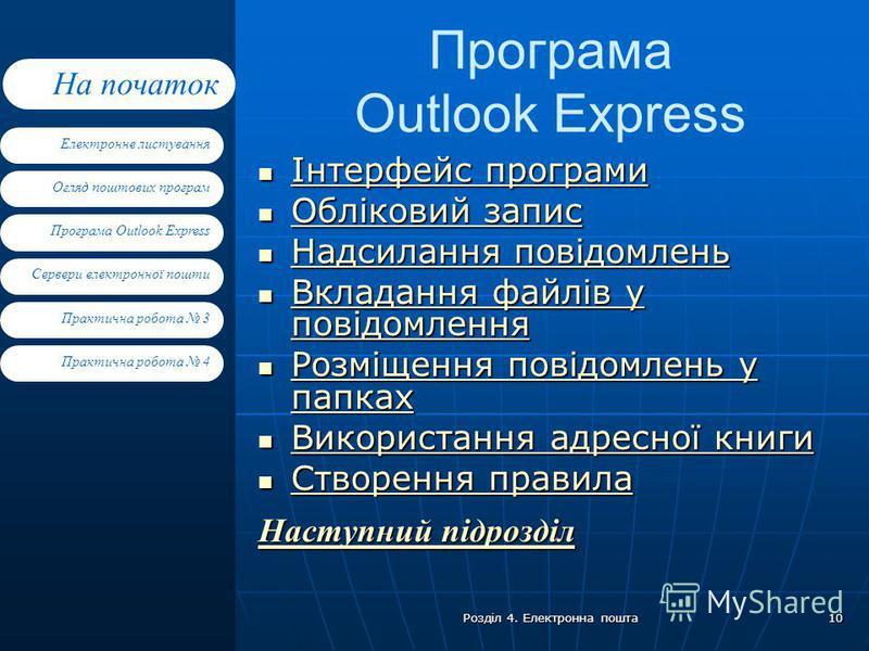 Електронне листування Огляд поштових програм Програма Outlook Express Сервери електронної пошти На початок Практична робота 4 Практична робота 3 Розділ 4. Електронна пошта 10 Програма Outlook Express Інтерфейс програми Інтерфейс програми Інтерфейс пр