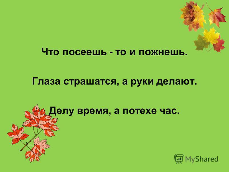 Труд человека кормит, а лень портит. Где труд - там и счастье. Откладывай безделье, да не откладывай дела.
