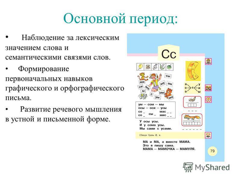 Основной период: Наблюдение за лексическим значением слова и семантическими связями слов. Формирование первоначальных навыков графического и орфографического письма. Развитие речевого мышления в устной и письменной форме.