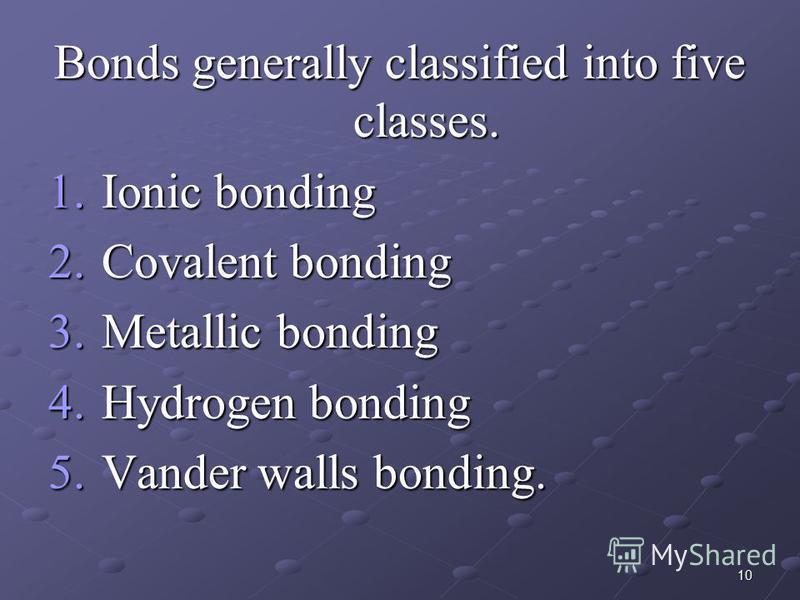 10 Bonds generally classified into five classes. 1.Ionic bonding 2.Covalent bonding 3.Metallic bonding 4.Hydrogen bonding 5.Vander walls bonding.