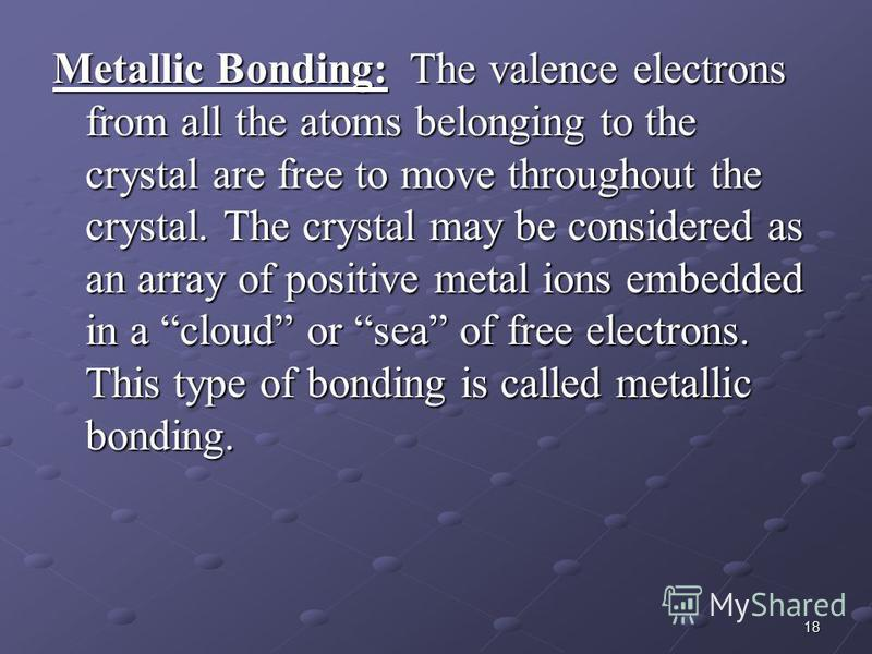 18 Metallic Bonding: The valence electrons from all the atoms belonging to the crystal are free to move throughout the crystal. The crystal may be considered as an array of positive metal ions embedded in a cloud or sea of free electrons. This type o
