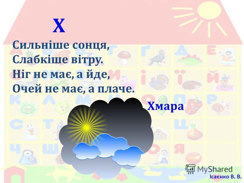 Х Сильніше сонця, Слабкіше вітру. Ніг не має, а йде, Очей не має, а плаче. Хмара Ісаєнко В. В.