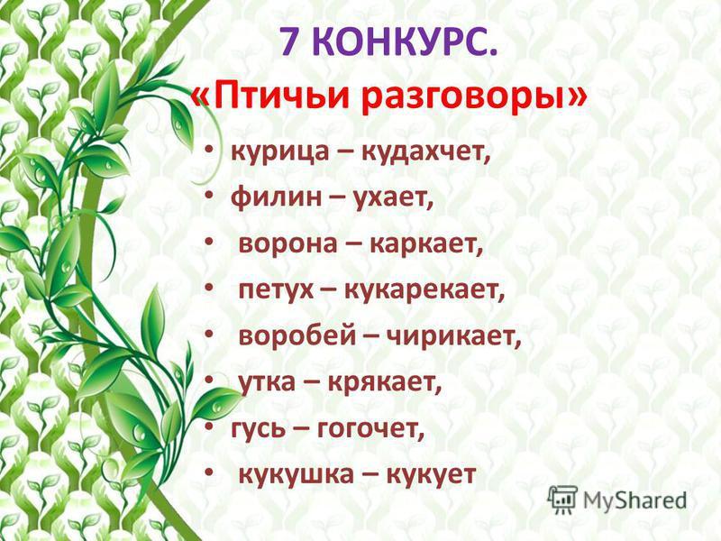 7 КОНКУРС. «Птичьи разговоры»
