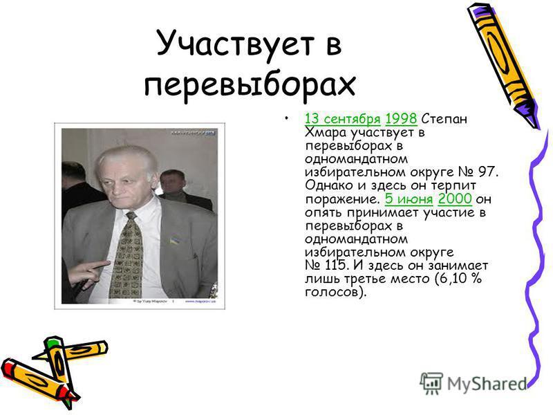 Участвует в перевыборах 13 сентября 1998 Степан Хмара участвует в перевыборах в одномандатном избирательном округе 97. Однако и здесь он терпит поражение. 5 июня 2000 он опять принимает участие в перевыборах в одномандатном избирательном округе 115.