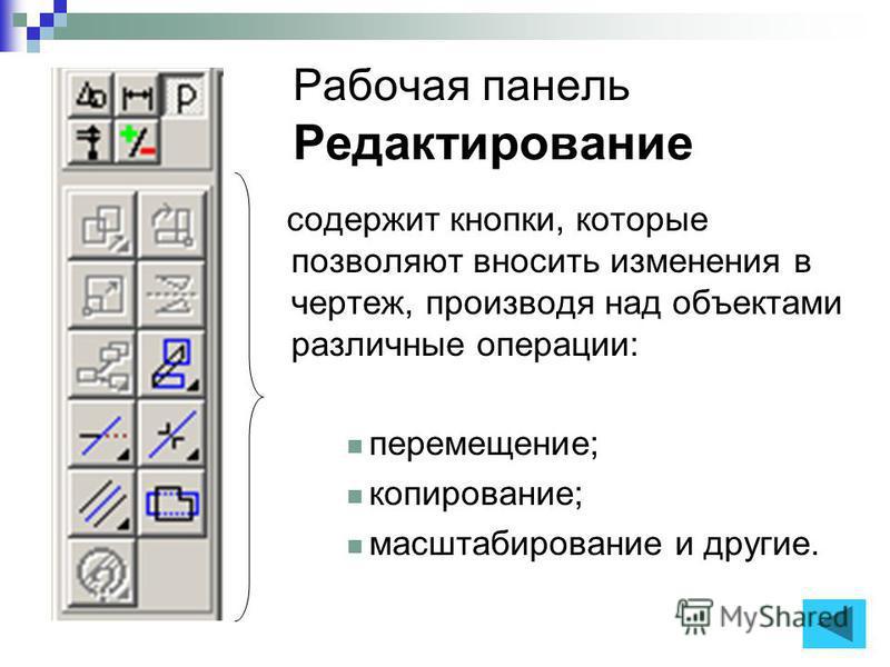 Рабочая панель Редактирование содержит кнопки, которые позволяют вносить изменения в чертеж, производя над объектами различные операции: перемещение; копирование; масштабирование и другие.